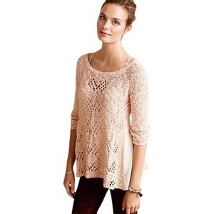 Anthro Sylt Pointelle Pink Open Knit Sweater Small
